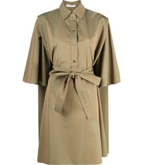 givenchy belted cape shirt dress - green