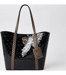 river island womens black patent ri monogram shopper bag