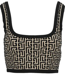 balmain cropped bicolor jacquard sports bra top with balmain monogram