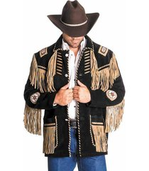 men's traditional western cowboy leather jacket coat with fringe bone and beads