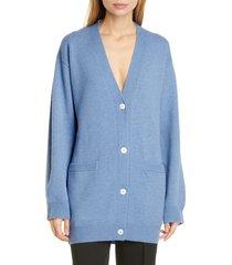 women's mansur gavriel longline wool & cashmere cardigan, size x-large - blue