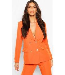double breasted boxy military blazer, orange