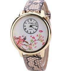 orologi da polso da donna in pelle vintage con motivo a uccelli in pelle con motivo serpente