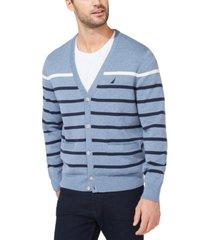 nautica men's striped v-neck button cardigan