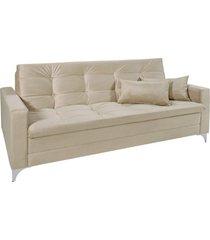 sofá cama 3 lugares facility reclinável império estofados bege