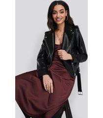 na-kd trend pu leather biker jacket - black