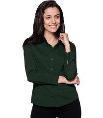 camisa intens manga longa tricoline verde militar