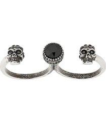 alexander mcqueen woman silver skull multi-ring