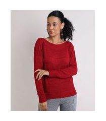 suéter de tricô feminino decote canoa vinho