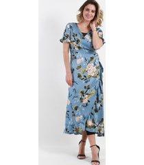 vestido abierto cruzado floral celeste night concept