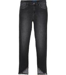 calça dudalina jeans super stretch cinza feminina (jeans black medio, 46)