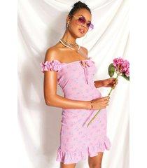 gebloemd bardot mini-jurk met ruches, roze