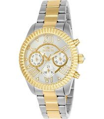 reloj invicta acero dorado modelo 214ae para dama, colección angel