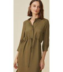 vestido amaro midi com cintura ajustã¡vel militar - verde - feminino - dafiti