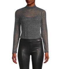 l'agence women's nico fishnet bodysuit - black - size xl
