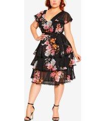 city chic trendy plus size floral-print crush dress