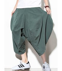 pantalones anchos de pierna ancha con cordones cruzados hasta la pantorrilla de estilo informal hipster vintage para hombre