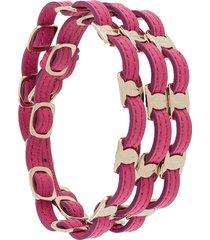 salvatore ferragamo vara buckle bracelet - pink