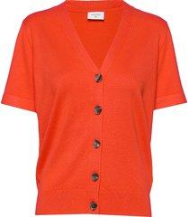 fqelinor-ss-car stickad tröja cardigan orange free/quent