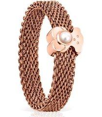 anillo tous real sisy de acero rosado y plata vermeil rosa 812455561