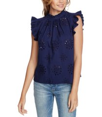 1.state eyelet-embroidered pleated top