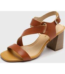 sandalia cuero marrón bottero