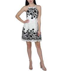 jump juniors' embroidered lace fit & flare dress