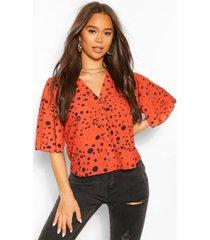 polka dot button through woven blouse, rust