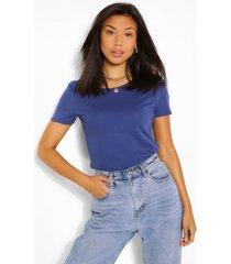 basic katoenen t-shirt met ronde hals, marineblauw