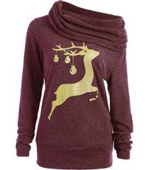 cowl neck elk deer print sweatshirt