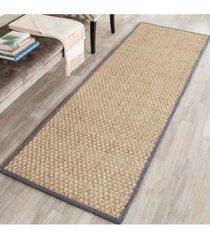 """safavieh natural fiber natural and dark grey 2'6"""" x 14' sisal weave runner area rug"""