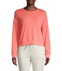 lea & viola women's solid drop-shoulder sweatshirt - pink - size l