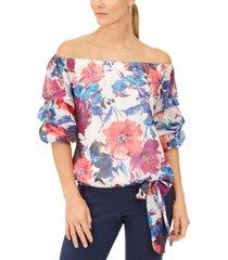 msk floral-print chiffon off-the-shoulder tie-hem top