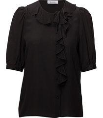 xilla silk blouse korte mouwen zwart rodebjer