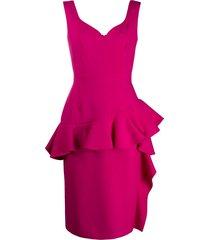 alexander mcqueen peplum midi dress - pink