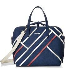 bolsa tiracolo desigual color block azul-marinho/off-white - azul - feminino - dafiti