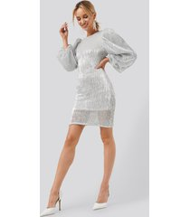 na-kd party puff sleeve sequin mini dress - silver
