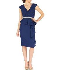 mac duggal women's cap-sleeve peplum dress - midnight - size 8