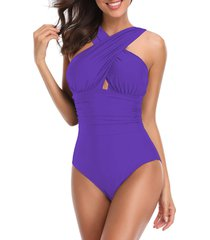 crossover ruched one-piece swimsuit