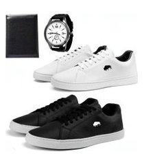 kit 2 pares sapatênis social sw shoes  + carteira e relógio branco e preto
