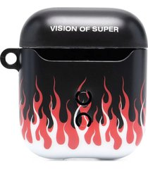 vision of super red and black double flames airpods case