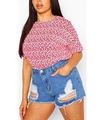 plus mono ditsy floral oversized t-shirt, red