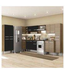 cozinha completa de canto reto madesa emilly live com armário e balcão 17 portas 1 gaveta rustic/preto rustic/preto