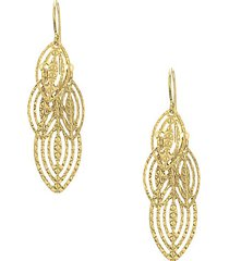 14k yellow gold tiered leaf earrings