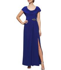 women's alex evenings cowl neck beaded waist gown, size 18 - blue