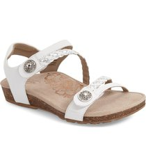 aetrex 'jillian' braided leather strap sandal, size 5.5 in white leather at nordstrom