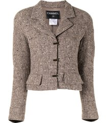 chanel pre-owned notched lapels toggle fastening jacket - neutrals
