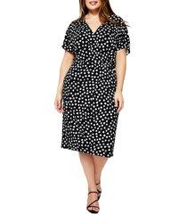 plus size women's leota ruby appaloosa dot print jersey dress, size 3x - black
