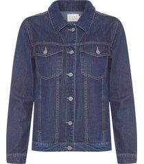 jaqueta feminina jeans escura - azul