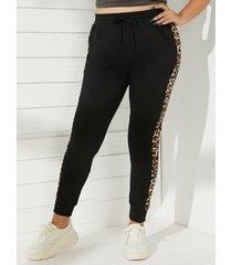 yoins plus leggings de retazos de leopardo talla